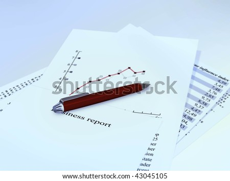 business report papers with pencil - stock photo