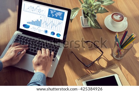 Business Research Data Economy man hand on table Business, coffee, Split tone - stock photo