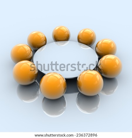 Business Round Table Meeting Concept, 3D Illustration - stock photo