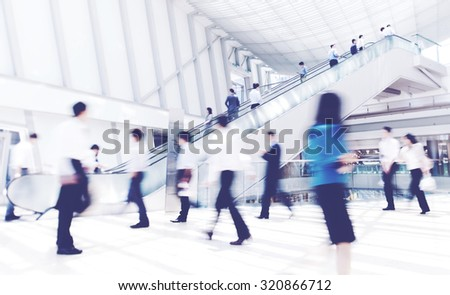 Business Rush Hour Commuter Office Walking Concept