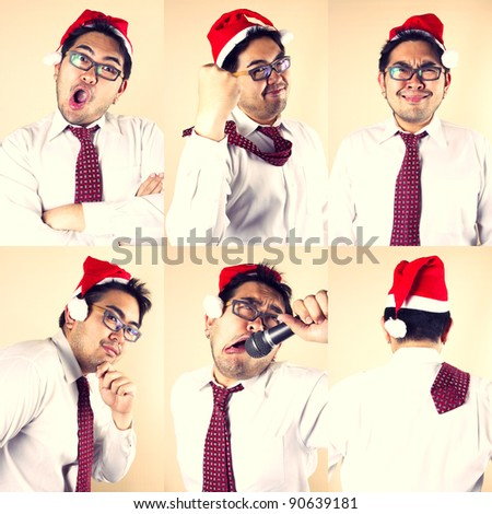 Business Santa, six actions of businessman in Santa hat.