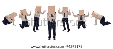 Business school concept - businessman evolution - stock photo