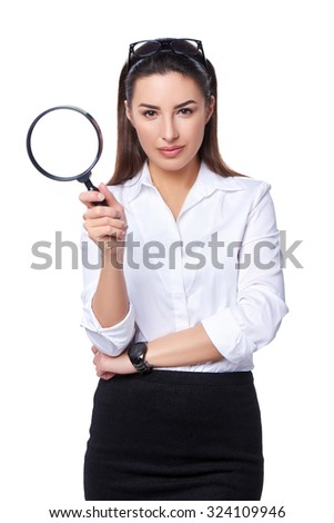 Business search concept. Business woman holding magnifying glass, isolated over white - stock photo