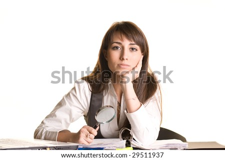 Business Searcher - Young Woman with Magnifying Glass on white background - stock photo