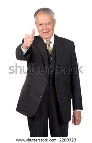 business senior smiling with thumbs up - focus is on face