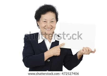 business senior woman holding blank board isolated with clipping path