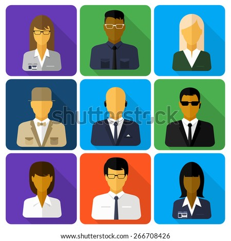 Business set of stylish avatars of woman girls and man guys in flat design style. Social networks business private users avatar pictograms with shadow. Raster version - stock photo