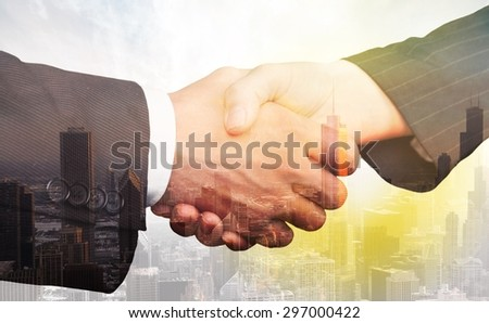 Business, shake, hand. - stock photo