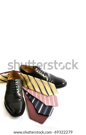 Business shoes and ties - stock photo