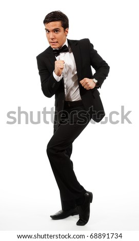 Business showing man run away gesture wearing formal clothes and standing isolated on white