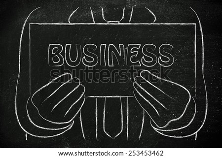 Business sign in the hands of a businessman, looking for or explaining about business - stock photo