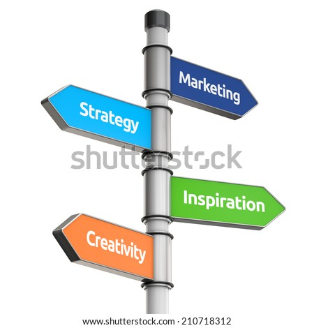 business signpost for direction (marketing, strategy, inspiration, creativity) isolated white background with clipping path - stock photo
