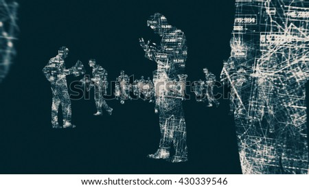 Business Silhouettes In a Digital Environment Made In Computer Graphics - stock photo