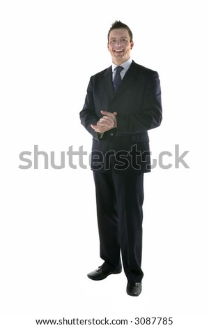 Business smiling with hands grasped, isolated on white.