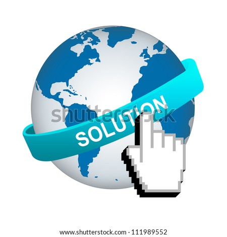 Business Solution Concept, Blue Solution Band Around The World With Hand Cursor Isolated on White Background