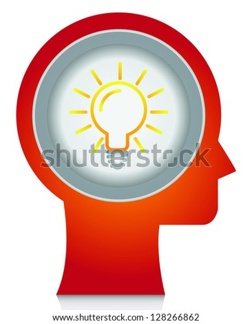 Business Solution Concept Present By Red Head With Light Bulb Icon Inside Isolated on White Background - stock photo