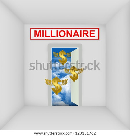 Business Solution Concept Present By The White Room With Millionaire Door Open to The Blue Sky With Flying Golden Dollar Currency Sign - stock photo