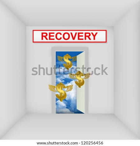 Business Solution Concept Present By The White Room With Recovery Door Open to The Blue Sky With Flying Golden Dollar Currency Sign - stock photo