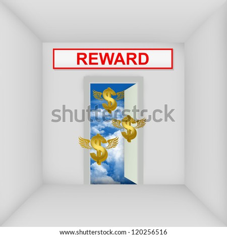 Business Solution Concept Present By The White Room With Reward Door Open to The Blue Sky With Flying Golden Dollar Currency Sign - stock photo