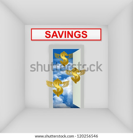 Business Solution Concept Present By The White Room With Savings Door Open to The Blue Sky With Flying Golden Dollar Currency Sign - stock photo