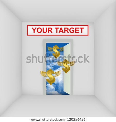 Business Solution Concept Present By The White Room With Your Target Door Open to The Blue Sky With Flying Golden Dollar Currency Sign - stock photo