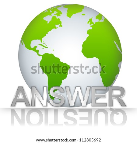 Business Solution Concept, The Green Globe With Silver Metallic Answer Text With Question Text As Shadow Isolated on White Background