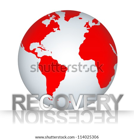 Business Solution Concept, The Red Globe With Silver Metallic Recovery Text With Recession Text As Shadow Isolated on White Background - stock photo