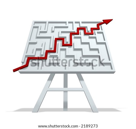 Business solution  (metaphor with the graph and the labyrinth) - stock photo