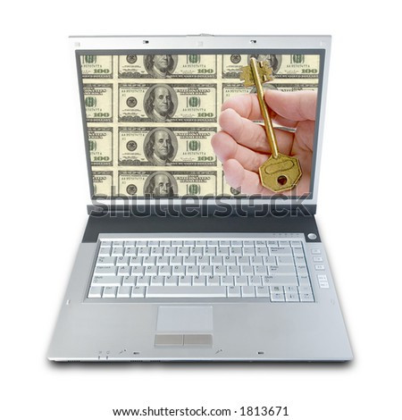 Business Solutions. On Laptop Screen: Hand Giving A Key Over Money Background (clipping path included) - stock photo