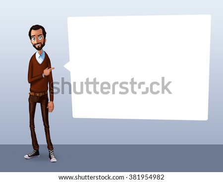 Business speech with flip chart, balloon. Presentation background of business product, project, report at conference. Man tells story. Storytelling and set of characters. Cloud technology and service - stock photo