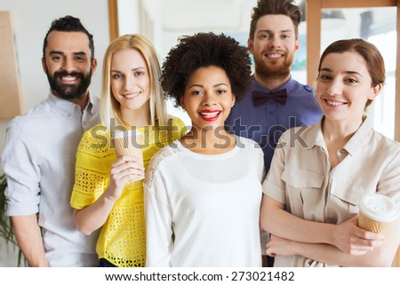business, startup, people and teamwork concept - happy creative team in office - stock photo