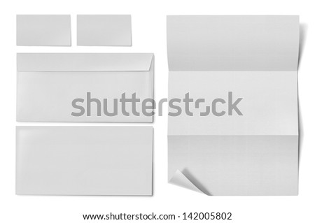 business stationary set. envelope, sheet of paper and business card on white background - stock photo