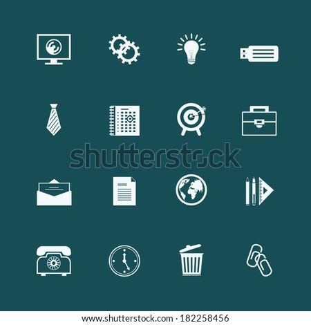 Business stationery supplies internet collection of staples globe monitor and memory card isolated  illustration