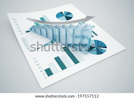 business statistic graphics - stock photo