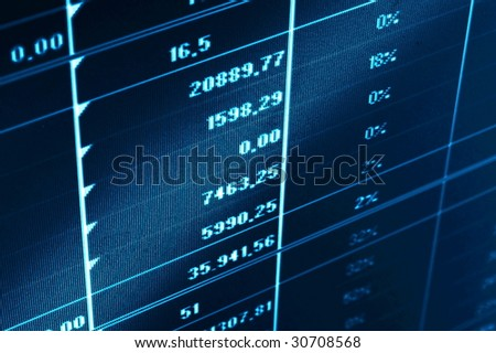 business statistics and data showing financial success - stock photo
