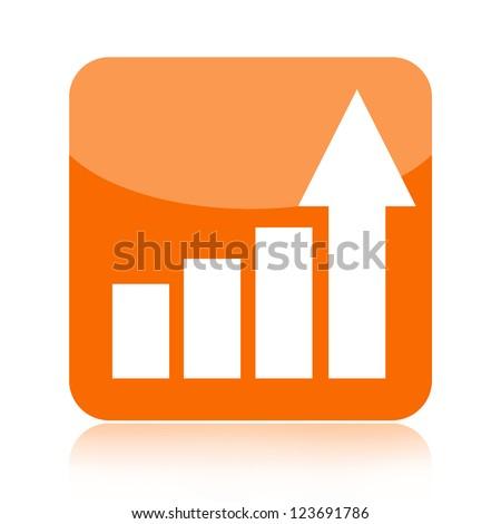 Business statistics graph icon with upward arrow - stock photo