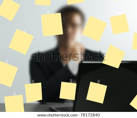 Business sticking notes on the glass wall - stock photo