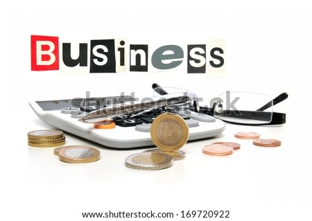 Business Still Life , calculator with money coins, glasses and ball pen - stock photo