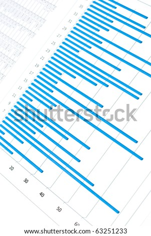 Business still-life with blue charts and numbers - stock photo