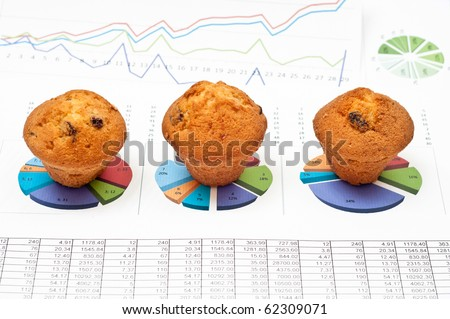 Business still-life with diagrams, charts, numbers and pies - stock photo