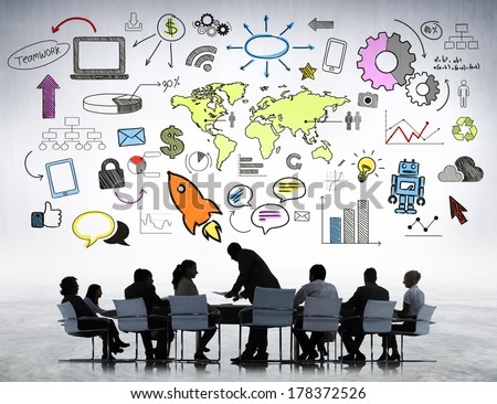Business Strategic Planning at Meeting Table - stock photo