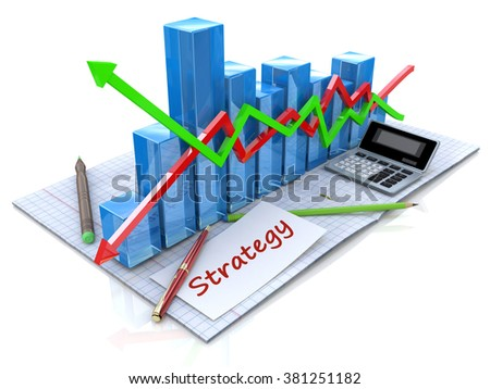 Business strategy and management as a concept in the design of information related to business - stock photo