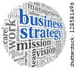 Business strategy and teamwork concept in word tag cloud on white - stock vector