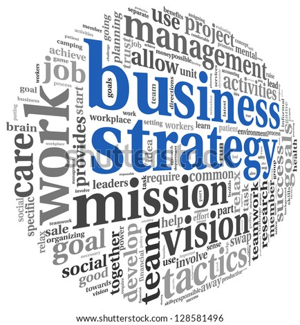 Business strategy and teamwork concept in word tag cloud on white - stock photo