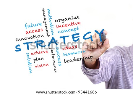 Business strategy concept and other related words,hand drawn on white board - stock photo