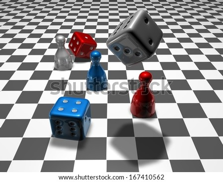 business strategy concept background with colorful dices - stock photo