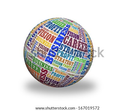 Business strategy  in a word cloud designed in a 3D sphere with shadow