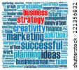 Business strategy info-text graphics and arrangement concept (word cloud) - stock photo
