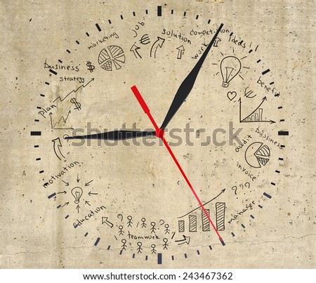 Business strategy infographics option drawn around clock dial, on smooth stone surface, top view - stock photo