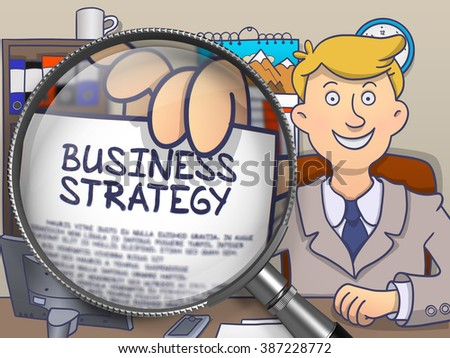 Business Strategy. Man Welcomes in Office and Showing through Lens Paper with Inscription. Multicolor Doodle Style Illustration. - stock photo